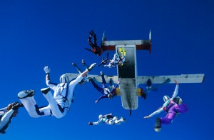 Skydivers jumping